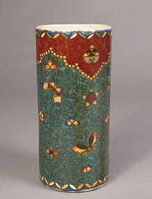 Japanese Signed Totai Cloisonne and Ceramic Brush Pot