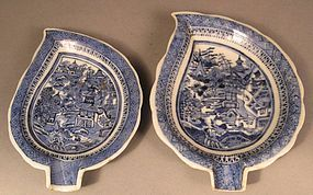 Two Chinese Export Porcelain Nanking Spoon Rests, Leaf