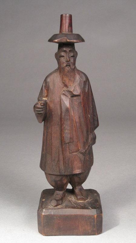 Korean Folk Art Carved Wood Traditionally Attired Male