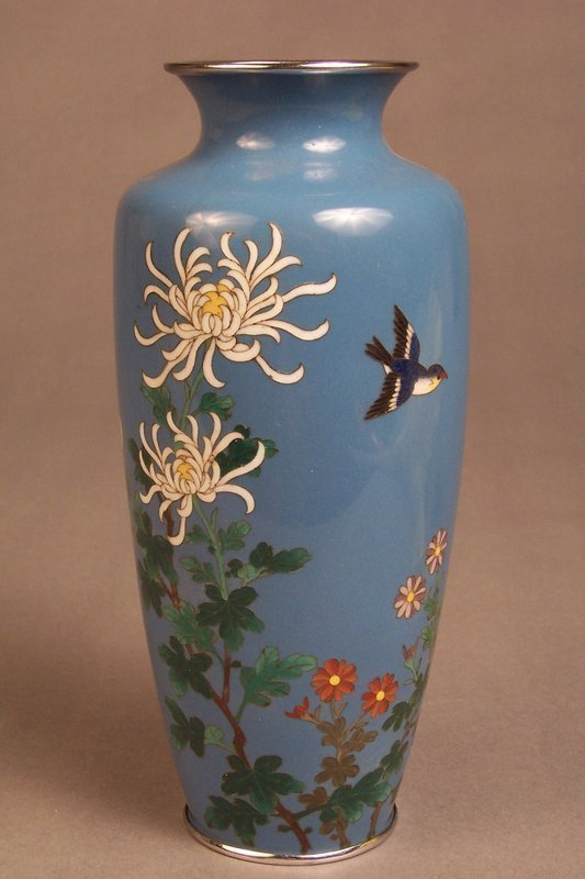 Japanese Silver Wire Cloisonne Vase, Bird and Flowers