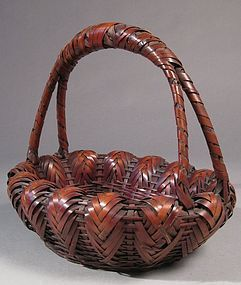 Japanese Woven Bamboo Flower or Fruit Basket