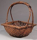 Japanese Bamboo Flower Basket, Square Rim, Arch Handle