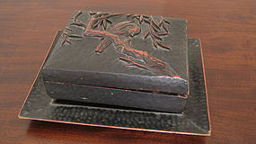 Good Antique Signed Kamakura-Bori Lacquer Box and Tray