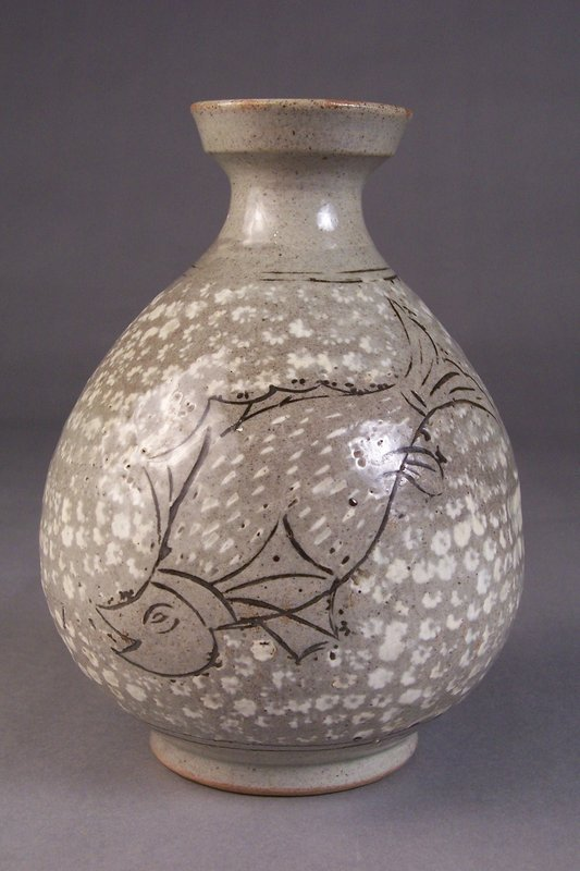 Korean Style Slip Inlaid Celadon Stoneware Bottle Vase