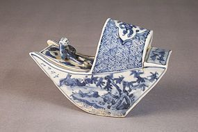 Japanese Blue and White Porcelain Group, Figure in Boat