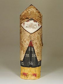 20th Century Mingei Kokeshi Doll With Original Bark, Fixed Head