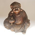 Bizen Stoneware Figure of Daikoku, Signed
