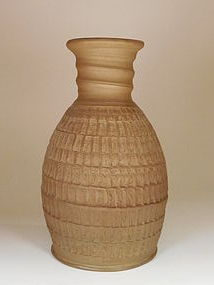 Modern, Unglazed,Japanese Brown Pottery Vase, Bold Chatter Decoration