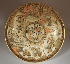 Satsuma Dish. Figures, Landscapes, Butterflies, Tea Objects Decoration