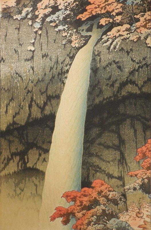 Kawase Hasui Woodblock Print, Kegon Falls in Nikko, 1927, Bijutsusha