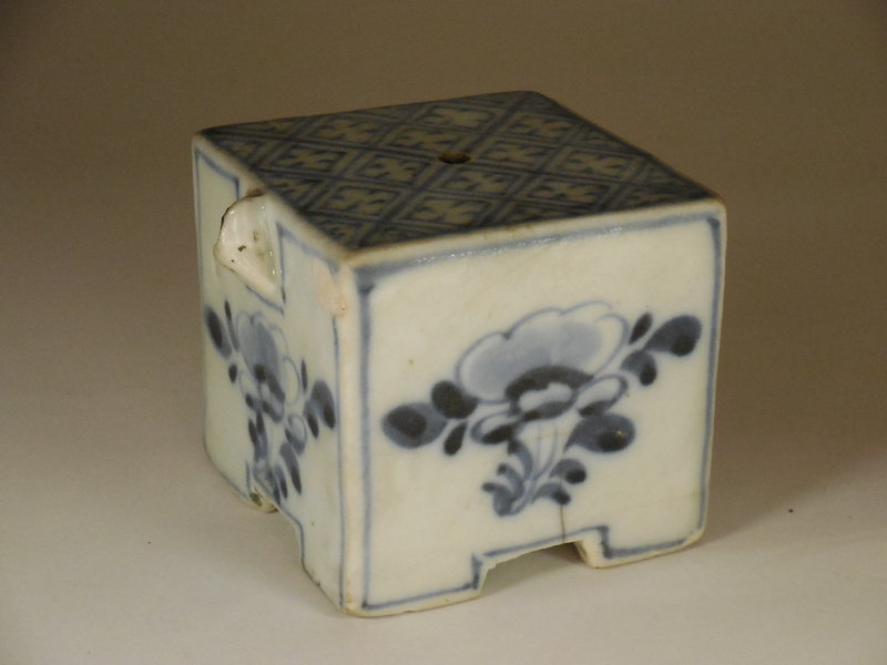 Korean Blue and White Porcelain Cube Form Water Dropper Joseon Dynasty