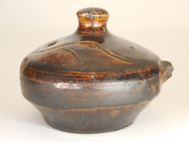 Korean, Joseon Dynasty Brown Glazed Water Dropper, Incised Decoration