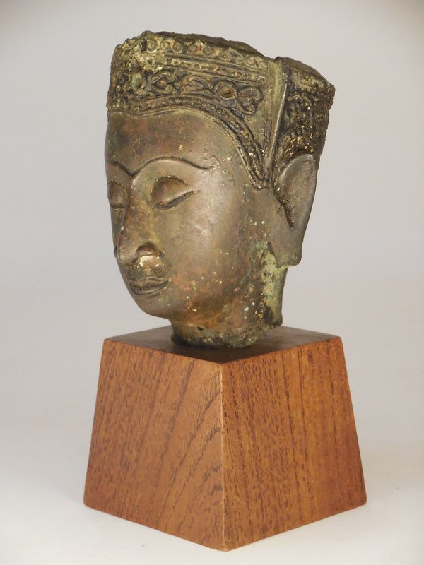Thai, Ayutthaya Period Bronze Head Of A Bodhisattva