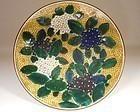 Ao-Kutani Palette Hydrangeas Porcelain Dish, Yoshidaya Type, 19th cent
