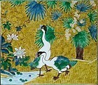 Yoshidaya Type Ao-Kutani Porcelain Plaque, Geese, Palm, Lotus, 19th C.