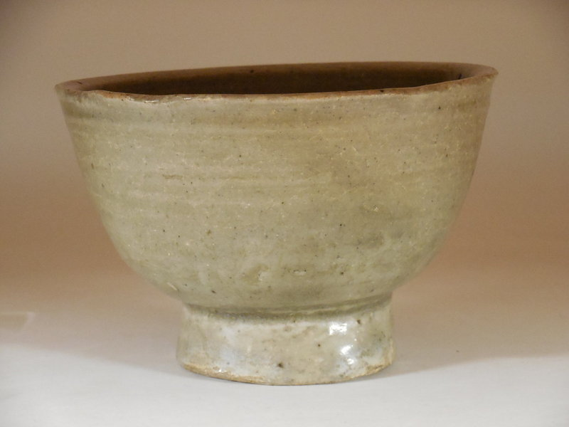 Korean Celadon Bowl, Raised Foot, Joseon Dynasty