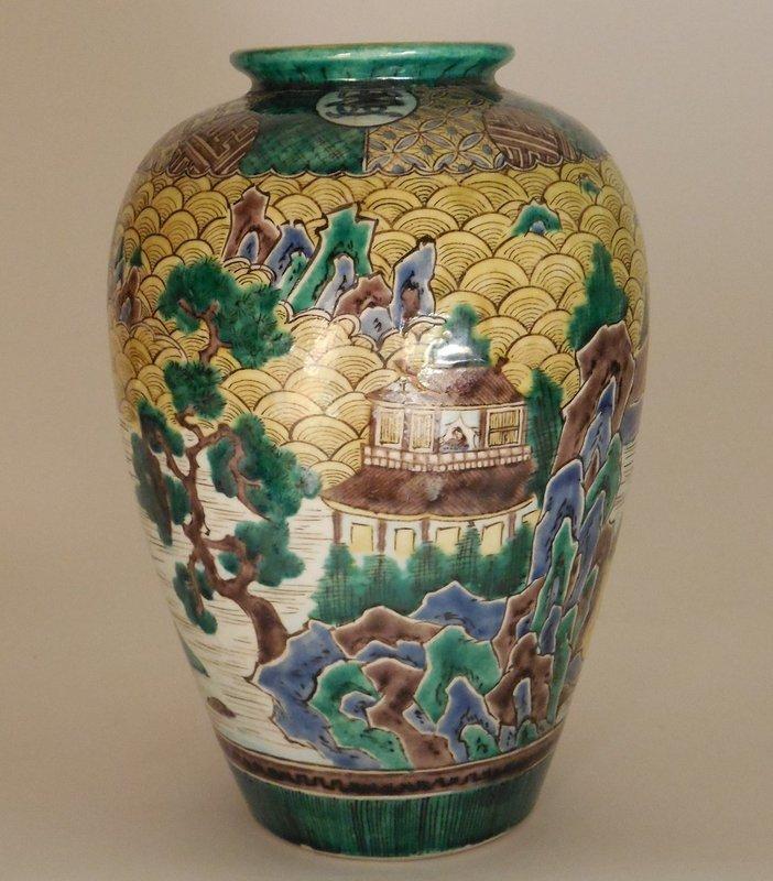 Ao-Kutani Palette, Yoshidaya Style Baluster Vase, Landscape Decoration