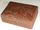 Chinese Carved Dark Red Cinnabar Box WIth Figures In Garden Landscape