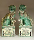 Pair Chinese Famille Verte Enameled Biscuit Porcelain Foo Lions