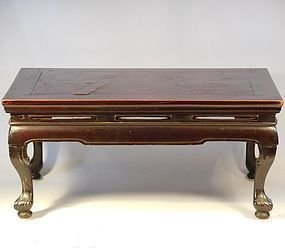 Chinese Burl Wood Veneered and Lacquered Foldable, Portable Kang Table