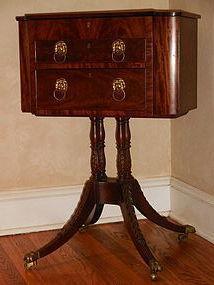 Fine Late Federal Classical Mahogany Pedestal Work Table, Circa 1820