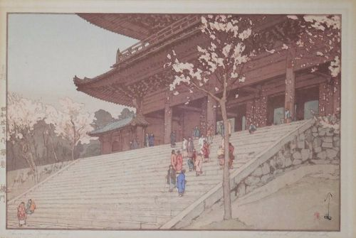 Chion-in Temple Gate, Hiroshi Yoshida, woodblock print, laid down