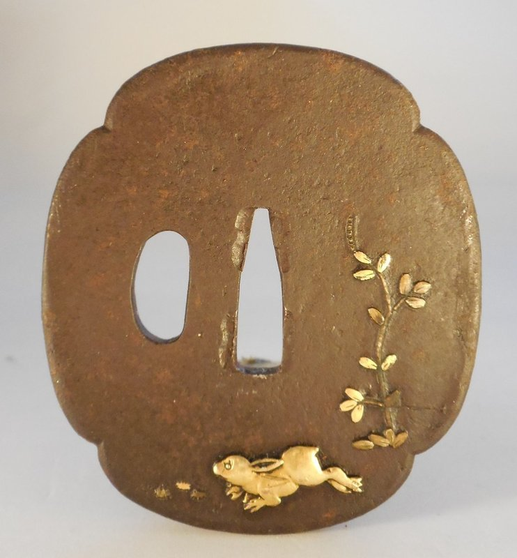 Iron Mokogata Form Iron Tsuba, Gilt Relief Hare and Vine Decoration