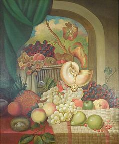 19th Century American Folk Art Harvest Still Life Oil Painting, Canvas