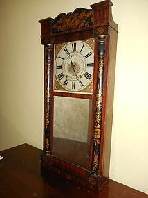 American Shelf Clock with Wood Works by Jerome's & Darrow, Bristol CT
