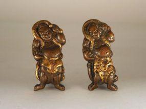 Niō Figural Kinko Menuki. Copper-Bronze Alloy, Gold Details