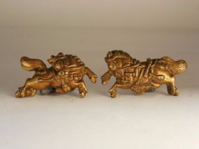 Pair of Kinko Menuki each in form of a Horse. Gold overlaid surface