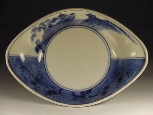 Japanese Porcelain Oblong Blue and White Porcelain Mamezara, Landscape