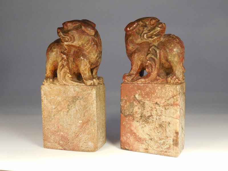 Pair Chinese Shoushan Stone Seals (uncarved) With Foo Lion Carvings