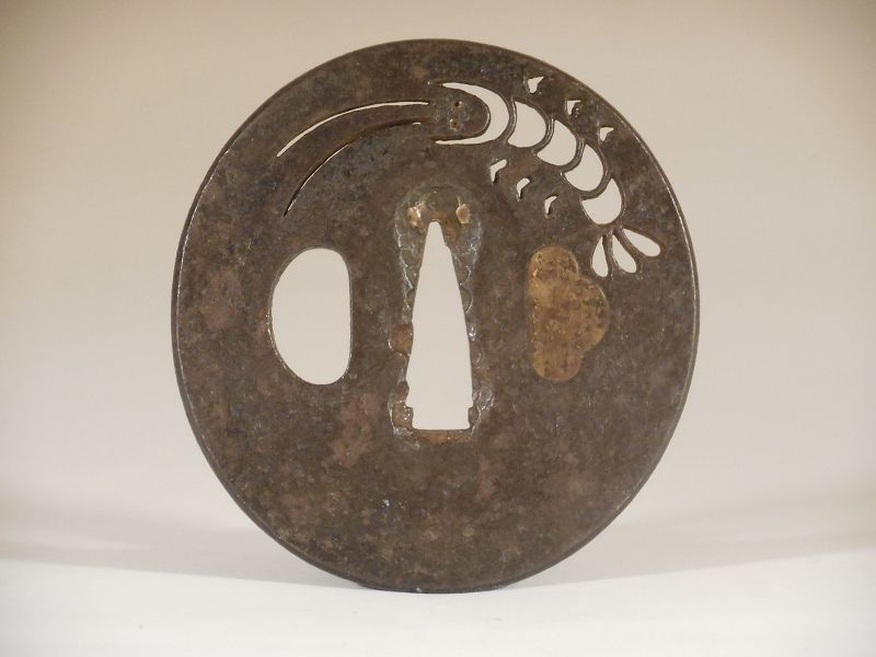 Katchushi Iron Tsuba with Sukashi Decoration of Ebi