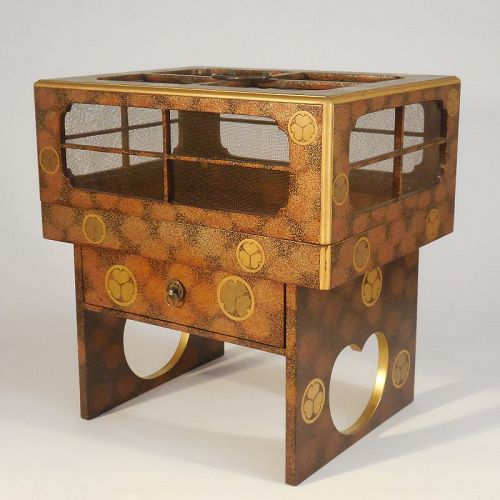 Rare and Unusual Japanese Lacquer Covered Tray on Stand with Drawer