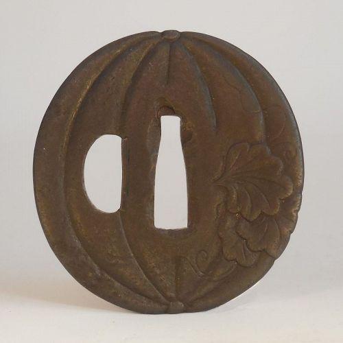 Signed Iron Pumpkin Form Tsuba, Possibly an Umetada School Tosho Tsuba