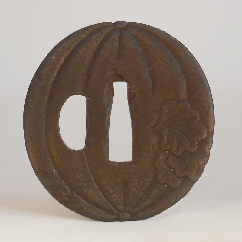 Signed Iron Pumpkin Form Tsuba, Possibly an Umetada School Tosho Tsuba