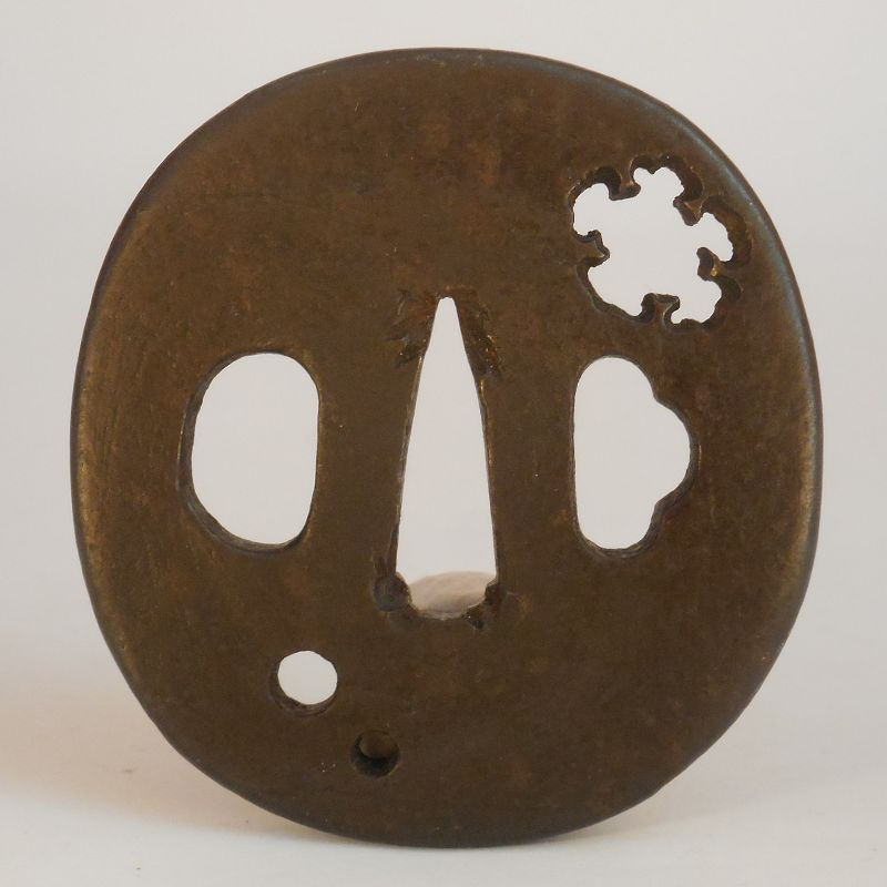 A Myochin Mokume Tsuba With Pierced Decoration