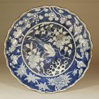 Japanese Blue and White Kakiemon Type Porcelain Dish, Bird in Branches