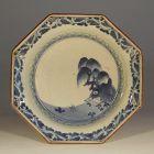 Blue & White Kakiemon Style Dish, Teahouse, Spiderweb, Karakusa, Fuku