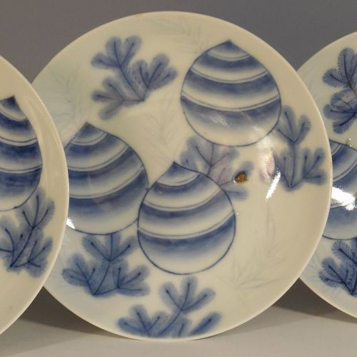 One Nabeshima Style Blue and White Porcelain Dish. Pine Decoration