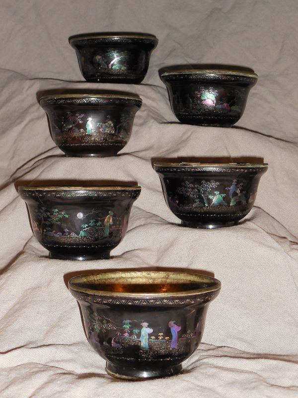 Rare Set of 6 Matching Kangxi Lac Burgaute Tea Cups, Figures in Garden
