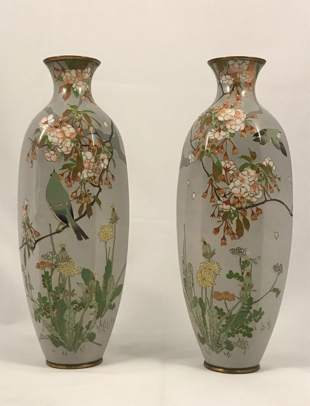 "Pair Meiji Period Namikawa School, Sosuke Manner, 12"" Cloisonne Vases"