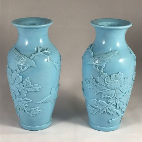 Attractive Pair of Pale Blue Peking Glass Vases, Republican Era