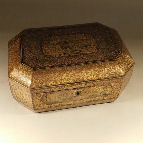 Chinese Export Lacquer Box. Figures in Architectural-Garden Landscape