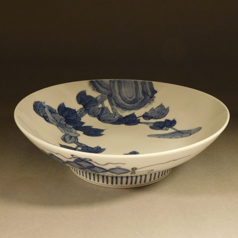 A Japanese, Meiji era Blue and White Nabeshima Porcelain Peonies Dish