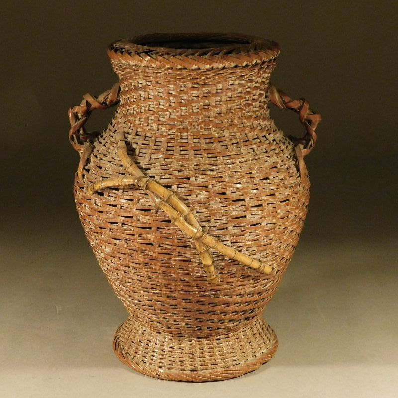 A Fine Little Japanese Woven Bamboo Reed Ikebana Basket