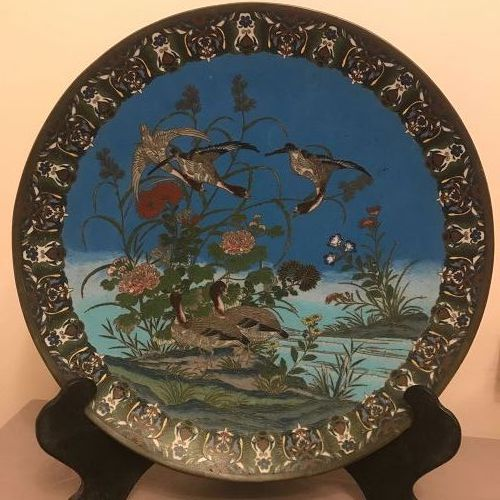 Large Japanese Meiji Period Cloisonné Charger. Geese, Spring Lancscape