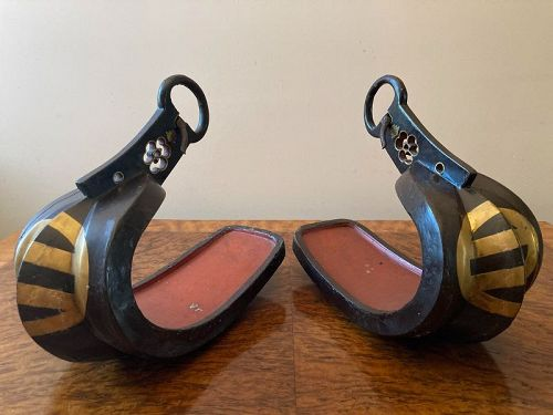 Pair of Lacquered  Iron Abumi (Samurai stirrups) with Family Crests