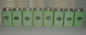 McKee Jadeite Small Box 8 Shaker Set